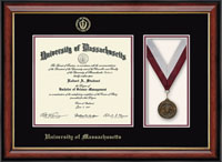University of Massachusetts Amherst Diploma Frame - Medal Diploma Frame in Southport Gold