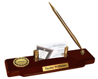 College of the Redwoods Desk Pen Set - Gold Engraved Medallion Desk Pen Set