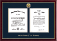 United States Naval Academy Diploma Frame - Gold Engraved Double Diploma Frame in Galleria