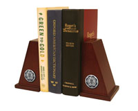 Millikin University Bookends - Silver Engraved Medallion Bookends