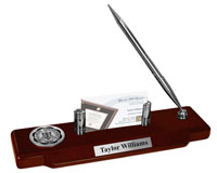 Millikin University Desk Pen Set - Silver Engraved Medallion Desk Pen Set