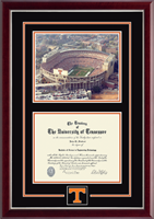 The University of Tennessee Knoxville Diploma Frame - Campus Scene Spirit Medallion Diploma Frame in Gallery Silver