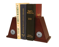 Plattsburgh State University Bookends - Silver Engraved Medallion Bookends