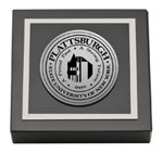 Plattsburgh State University Paperweight - Silver Engraved Medallion Paperweight