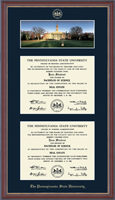 Pennsylvania State University Diploma Frame - Double Campus Scene Diploma Frame in Kensit Gold