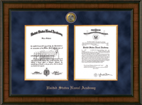 United States Naval Academy Diploma Frame - Presidential Masterpiece Double Diploma Frame in Madison