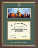 The University of Vermont Diploma Frame - Campus Scene Diploma Frame in Regency Gold