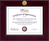 Louisiana State University Health Sciences Center Certificate Frame - Century Gold Engraved Certificate Frame in Cordova