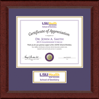 Louisiana State University Health Sciences Center Certificate Frame - Lasting Memories Banner Certificate Frame in Sierra