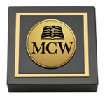 Medical College of Wisconsin Paperweight - Gold Engraved Medallion Paperweight