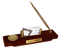 York College of Nebraska Desk Pen Set - Gold Engraved Medallion Desk Pen Set