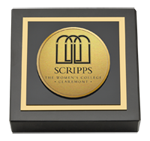 Scripps College Paperweight - Gold Engraved Medallion Paperweight