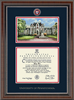 University of Pennsylvania Diploma Frame - Campus Scene Masterpiece Medallion Diploma Frame in Chateau