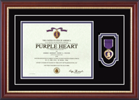 United States Coast Guard Certificate Frame - Purple Heart Certificate & Commemorative Medal Frame in Newport
