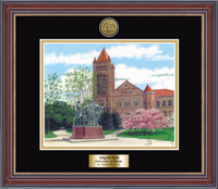 University of Illinois Lithogrpah Frame - Gold Engraved Framed Lithograph in Kensington Gold