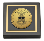 United States Air Force Academy Paperweight - Gold Engraved Medallion Paperweight