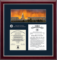 United States Air Force Academy Diploma Frame - Masterpiece Campus Scene Edition Document Frame in Gallery Silver