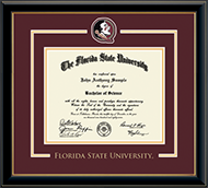 Florida State University Diploma Frame - Spirit Medallion Diploma Frame in Onyx Gold