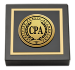 CPA Directory Inc. Paperweight - Gold Engraved Medallion Paperweight