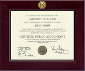 Certified Public Accountant Certificate Frame - Century Gold Engraved Certificate Frame in Cordova