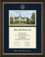 Seton Hall University Diploma Frame - Campus Scene Edition Diploma Frame in Murano