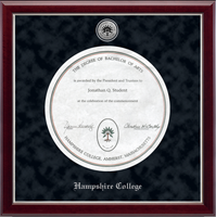 Hampshire College Diploma Frame - Silver Engraved Medallion Diploma Frame in Gallery Silver