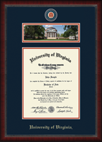 University of Virginia Diploma Frame - Campus Scene Masterpiece Medallion Diploma Frame in Sutton
