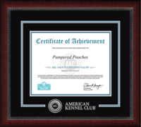 American Kennel Club Certificate Frame - Silver Engraved Medallion Groom Salon Safety Certificate Frame in Sutton