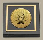 Pi Kappa Alpha Paperweight - Gold Engraved Medallion Paperweight