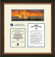 United States Air Force Academy Diploma Frame - Dimensions Campus Scene Double Document Frame in Murano