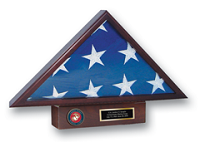 United States Marine Corps Flag Case - U.S. Marine Corps Memorial Medallion Flag Case
