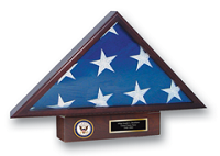 Flag Cases and Flag Boxes Flag Case - U.S. Navy Memorial Medallion Flag Case